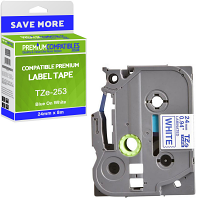 Premium Compatible Brother TZe-253 Blue On White 24mm x 8m Laminated P-Touch Label Tape (TZe253)
