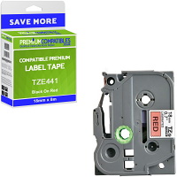 Premium Compatible Brother TZe-441 Black On Red 18mm x 8m Laminated P-Touch Label Tape (TZE441)