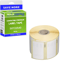Premium Compatible Dymo 11354 White 57mm x 32mm Multipurpose Label Tape - 1000 Labels (S0722540)