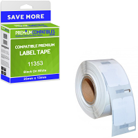 Premium Compatible Dymo S0722530 Black On White 25mm x 13mm Multipurpose Label Tape - 1000 Labels (11353)
