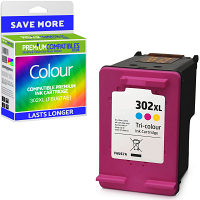 Premium Remanufactured HP 302XL Colour High Capacity Ink Cartridge (F6U67AE)