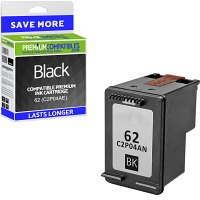 Premium Remanufactured HP 62 Black Ink Cartridge (C2P04AE)