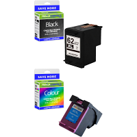 Premium Remanufactured HP 62XL Black & Colour Combo Pack High Capacity Ink Cartridges (C2P05AE & C2P07AE)