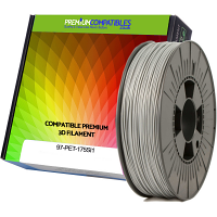 Premium Compatible PETG 1.75mm Silver 1kg 3D Filament (97-PET-175SI1)