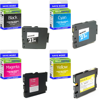 Premium Compatible Ricoh GC21H CMYK Multipack High Capacity Gel Ink Cartridges (405536 / 405537 / 405538 / 405547)