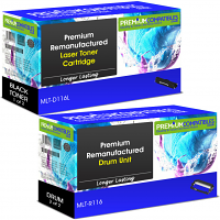 Premium Remanufactured Samsung MLT-D116L / MLT-R116 Black High Capacity Toner Cartridge & Drum Unit Combo Pack (SU828A & SV134A)