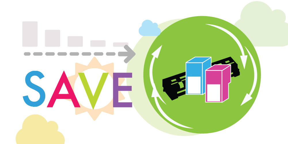 Save money by buying remanufactured ink and toner cartridges.