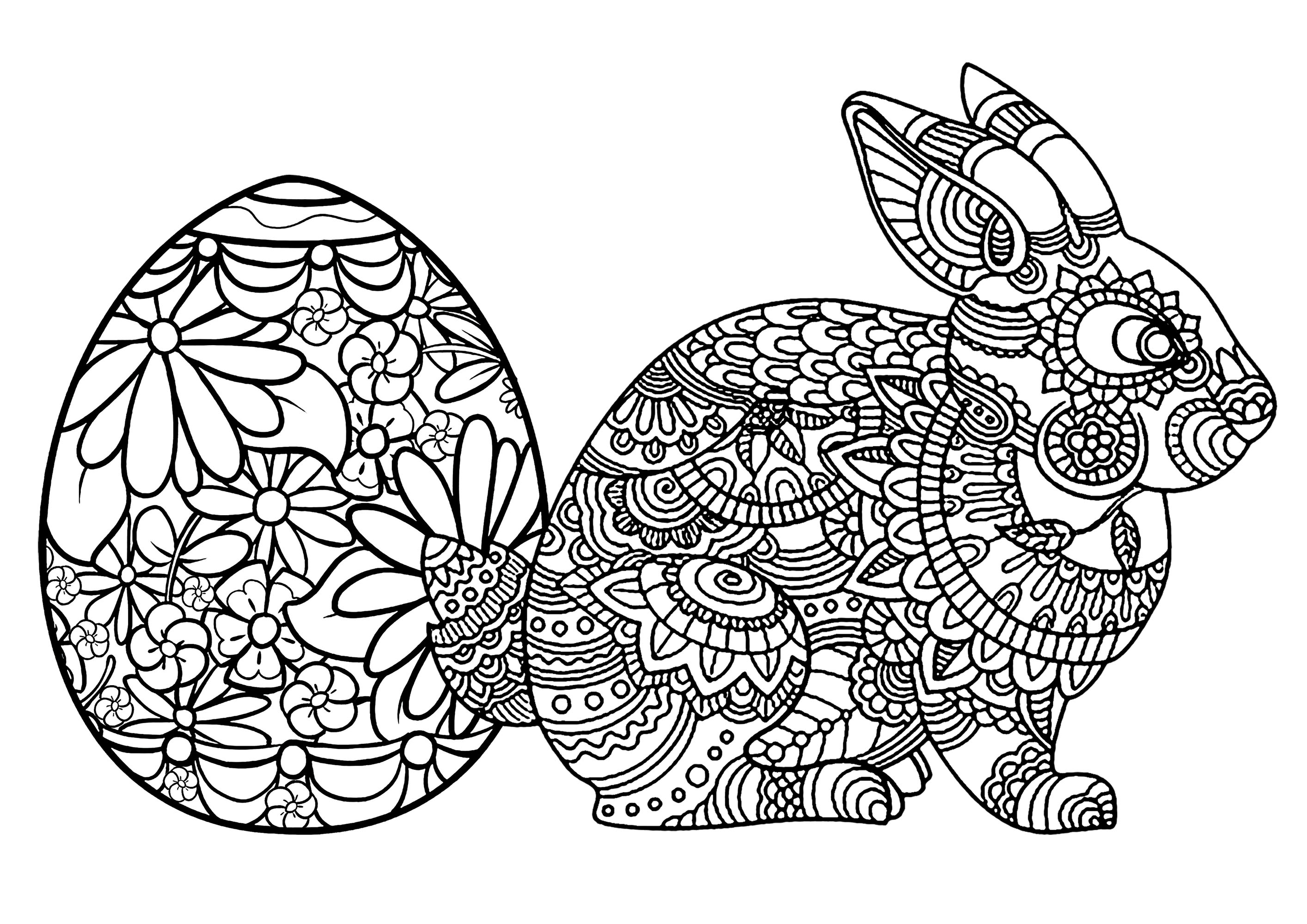 coloring-easter-and-rabbit-egg
